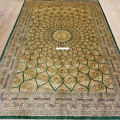 6x9 2mx3m silk Gonbad qum Persian rug with signature; Handmade Qom green silk carpet