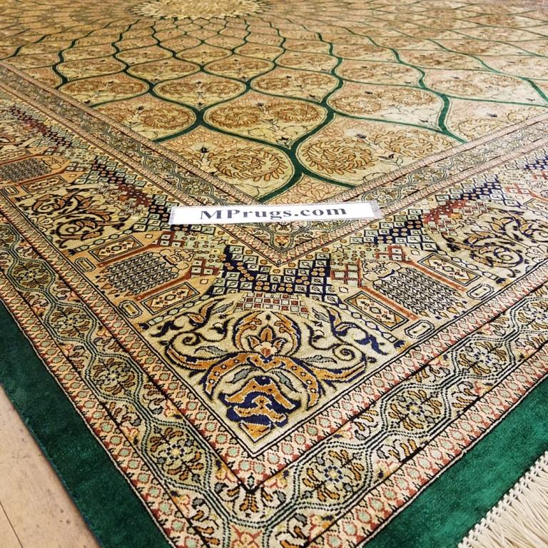 6x9 2mx3m silk Gonbad qum Persian rug with signature; Handmade Qom turquois silk carpet