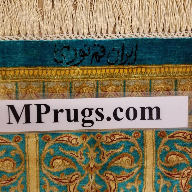 6x9 2mx3m silk Gonbad qum Persian rug with signature; Handmade Qom turquois silk carpet