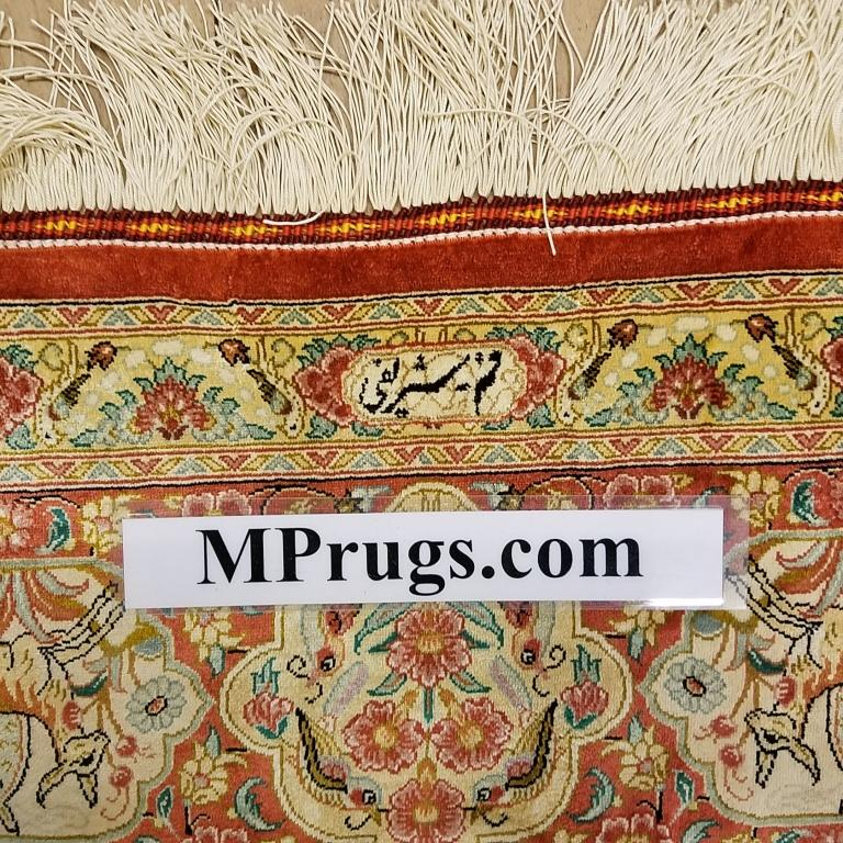9x6 (3m x 2m) pictorial Hunting pure silk Qum Persian rugs with 600 KPSI. Genuine Hunting Qum Persian carpets