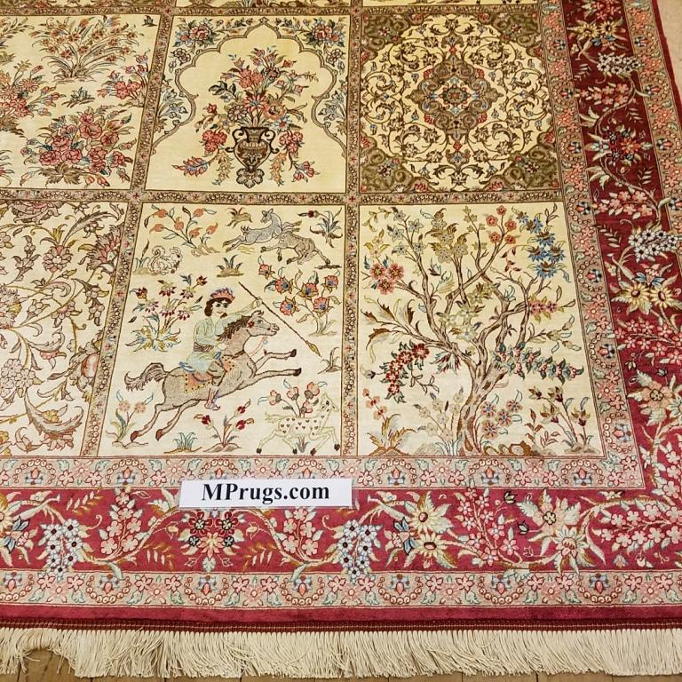 6x4 (2m x 1,4m) pictorial tile pure silk Qum Persian rugs with 600 KPSI