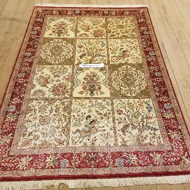 6x4 (2m x 1,4m) pictorial tile pure silk Qum Persian rugs with 600 KPSI