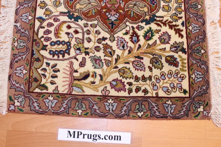 Medium 2x3Tabriz twin Persian rugs. Twin Tabriz Persian carpets with silk.