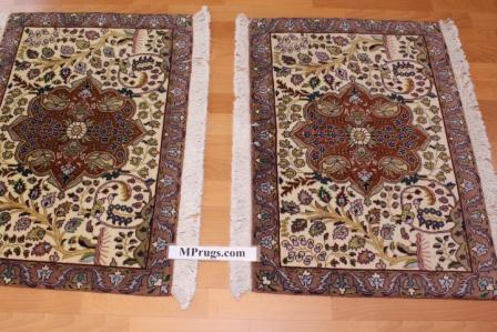 Small 2x3 Tabriz twin Persian rugs. Twin Tabriz Persian carpets with silk
