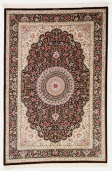 Brown 7x5 Qom silk Persian rugs. Pure Silk brown Qum Persian carpet with brown colors