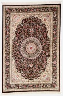 Brown 7x5 Qom silk Persian rugs. Pure Silk brown Qum Persian carpet with brown colors