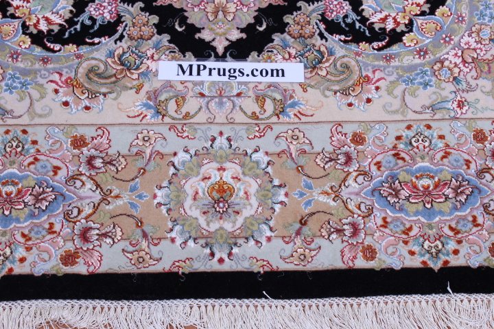 Black Silk Tabriz Persian rug, 400 kpsi 60 raj high quality Tabriz carpet.