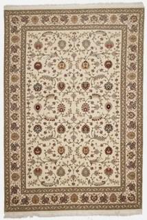 55 Raj Faraji Tabriz Persian rug with a silk foundation. 9x6 silk Faraji Tabriz Persian carpet