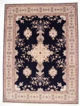 55 Raj Tabriz Persian rug with a silk foundation. 12x9 silk 400KPSI Tabriz Persian carpet