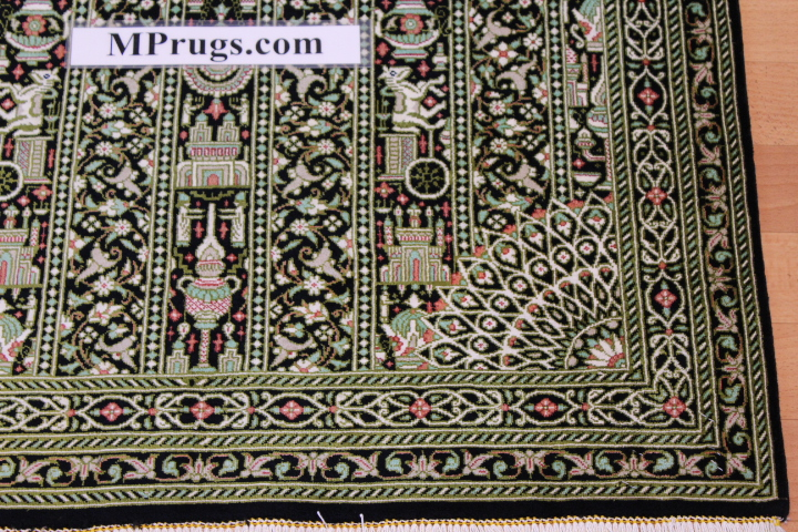 4x2 green silk qum Persian rug with signature