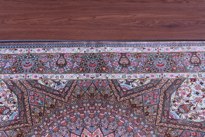 5'x3' pure silk Qum Persian rug with Gonbad Design 700 KPSI