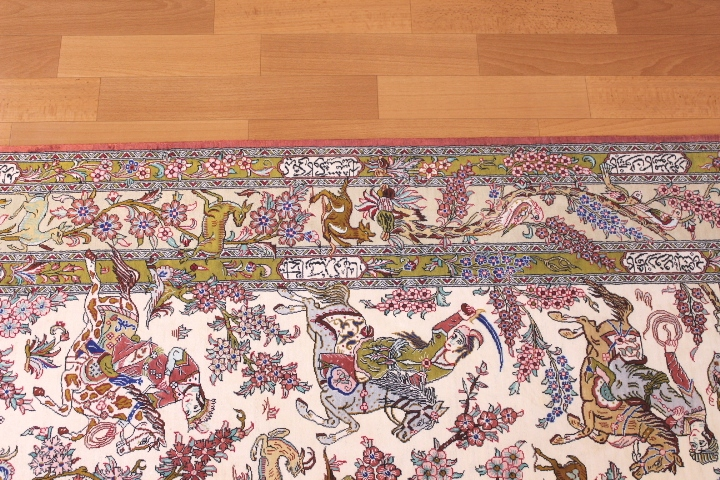 3x5 silk pictorial qum Persian rug with hunting scene