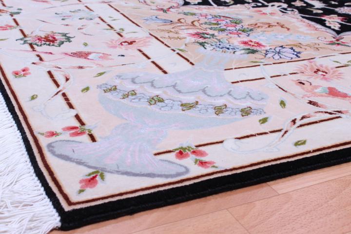 50 Raj Tabriz Persian rug with a unique design. High Quality Tabriz Persian carpet with silk.