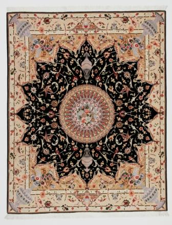50 Raj Tabriz Persian rug with a unique design. High Quality Tabriz Persian carpet with silk.