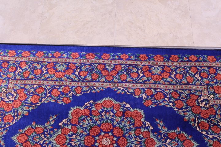 4x2 red blue silk qum Persian rug, signed qom carpet