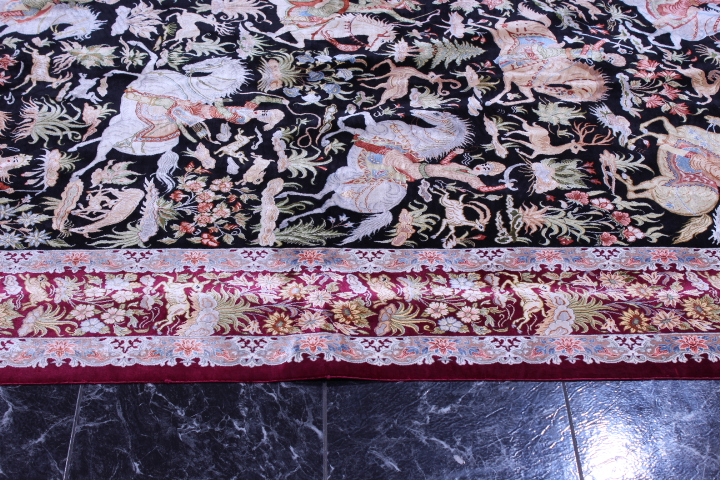 900kpsi silk qum hunting rug pictorial carpet