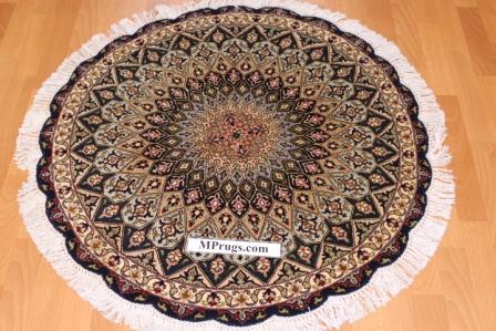 Round Gonbad 3x3 Tabriz Persian rugs. Gombad Tabriz Persian carpets with silk
