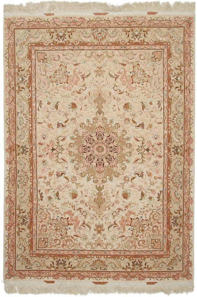 70 Raj 6x4 Shifar Tabriz Persian rug with a silk foundation. Beige Shifar Tabriz Persian carpet.