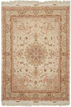 70 Raj 6x4 Shifar Tabriz Persian rug with a silk foundation. Beige Shifar Tabriz Persian carpet.