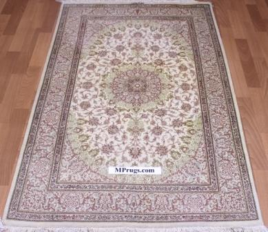 5x3 silk qom Persian rug with 700kpsi; beige pure silk Qum Persian carpet. Genuine pure silk qom Persian rug with signature