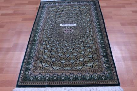 5'x3' pure silk Qum Persian rug with Gonbad Design