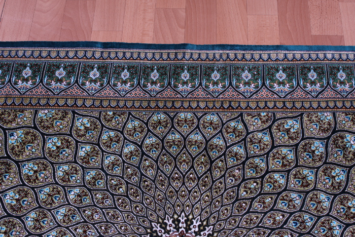 5'x3' pure silk Qum Persian rug with Gonbad Design