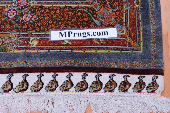 6x4 1400-1500kpsi pure silk qum Persian rug; pure silk Qom Persian carpet 1500kpsi. Pure silk qom Persian rug masterpiece
