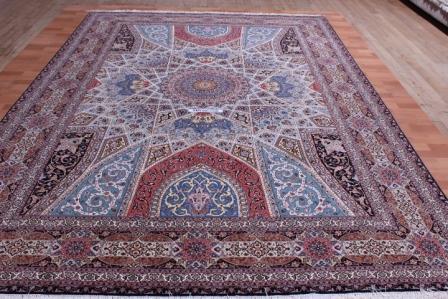 8x11 silk foundation Gonbad Tabriz Persian rug