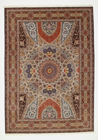 11x8 Gonbad Tabriz Persian rug with silk foundation. Dome Design Gombad Tabriz Persian carpet.