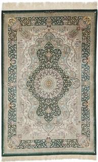 5x3 dark green silk qom Persian rug with 900-1000kpsi; pure silk green Qum Persian carpet. Genuine pure silk qom Persian rug