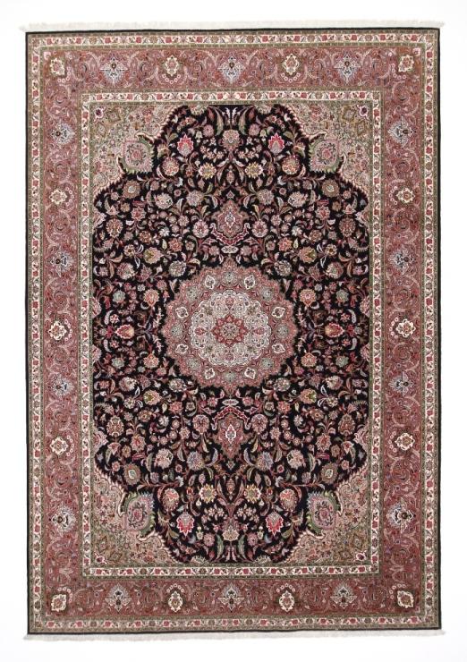 50 Raj Tabriz Persian rug with a dark blue color. High Quality Tabriz Persian carpet with silk.