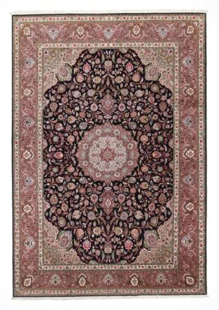 50 Raj Tabriz Persian rug with a dark blue color. High Quality Tabriz Persian carpet with silk.