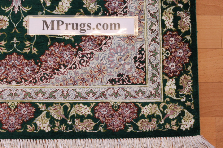 4x2 green silk qum Persian rug, signed qom carpet