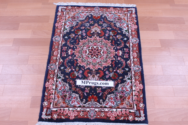 3x2 TWIN Tabriz Persian rug with silk highlights.