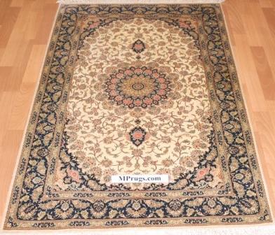 3x5 750kpsi silk qum Persian rug with signature