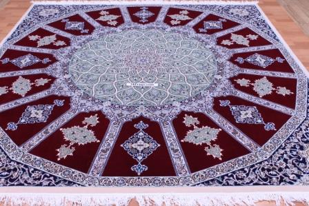 8'x8' (2,5m) Nain Twin Persian rug with Gonbad design.