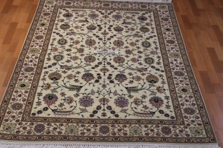 7x5 silk Tabriz Mahi Persian rug, 350 KPSI 50 raj handmade Tabriz carpet.