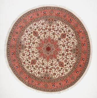 50 Raj round Tabriz Persian rug with silk added. Beige 10' round Tabriz Persian carpet.