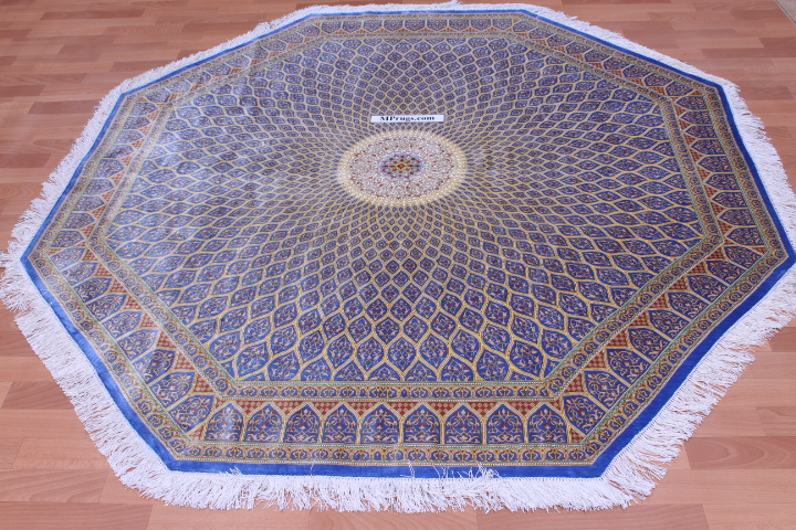 7' (2m) Octagon Qum pure silk Qom Persian rug with Gonbad design