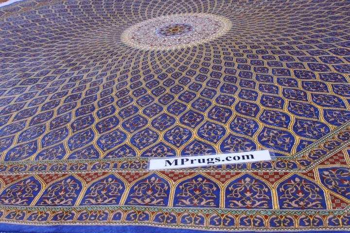 7' (2m) Octagon Qum pure silk Qom Persian rug with Gonbad design