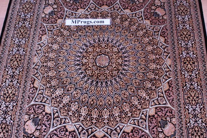 5'x3' pure silk Qum Persian rug with Gonbad Design 800 KPSI