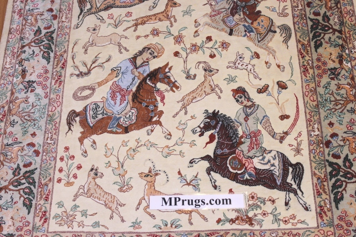Pictorial hunting silk qum Persian rug with 800kpsi; Hunting design Qum silk carpet