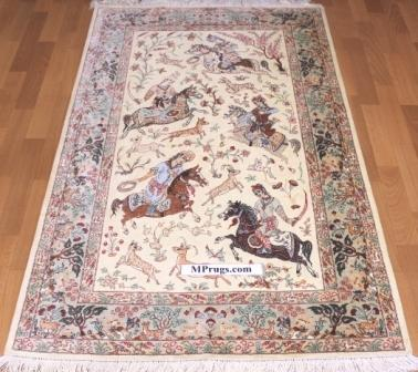 Pictorial hunting silk qum Persian rug with 800kpsi; Hunting design Qum silk carpet