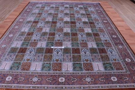 11x8 Qum Pictorial Tile Persian rugs pure silk