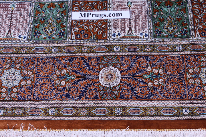 11'x8' (3,5m by 2,5m) High quality handmade pure silk Qum Persian rug with pictorial tile pattern