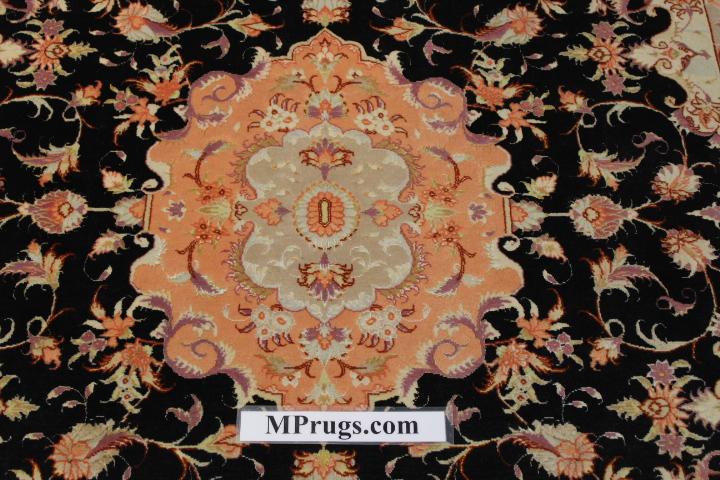 Silk Tabriz Persian rug, silk high quality Tabriz carpet.