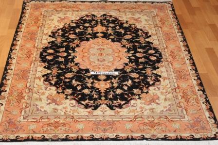 Black 5x7 Tabriz Persian rug, 350 KPSI 50 raj Tabriz carpet.