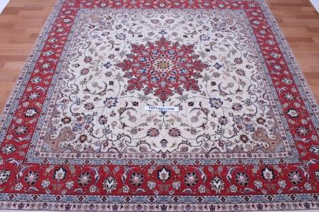 Square Tabriz Persian rug, silk square Tabriz carpet.