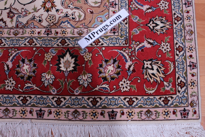 Square 7x7 Tabriz Persian rug. High Quality silk Tabriz Persian carpet.