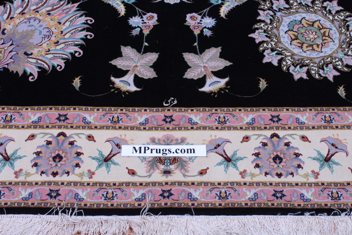 55 Raj black Faraji Tabriz Persian rug with a silk foundation. 10x6 silk Faraji Tabriz Persian carpet.